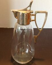 """Vintage Art Deco Etched Glass Decantor Wine Pitcher Silverplate Handle Lid 11"""""""