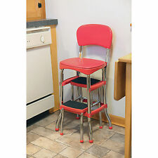 Cosco Retro Kitchen Stool Red with Folding Step