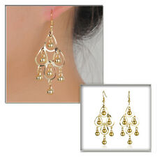 Gold Plated Chandelier Extravagant Long Drop Earrings Retro Wedding Party Punk