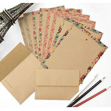 4set Kraft Flower Pattern Letter set 16x Writing Stationery Paper 8x Envelope