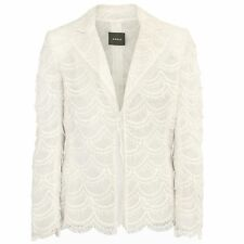 AKRIS $5,000 white layered scalloped lace mesh blazer Nippon jacket 40/8-us NEW