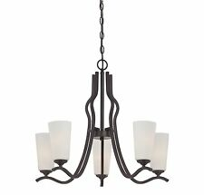 Savoy House 1-6220-5-13 Charlton 5-Light Chandelier with White Etched Glass,