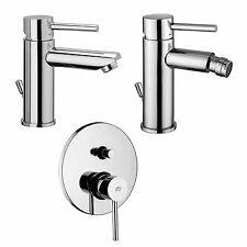 Set rubinetteria Paffoni Stick miscelatori lavabo bidet e doccia incasso cromati