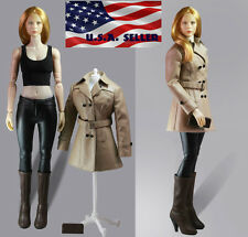 "1/6 Women Leather Trench Coat Set BEIGE For 12"" Phicen Hot Toys Female Figure"