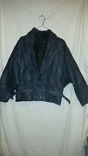 TRUE VINTAGE RETRO LEATHER JACKET NAVY BLUE BATWING TYPE ABOUT SIZE 16
