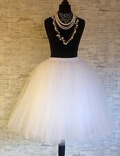 White knee length tulle net vintage skirt 6 8 10 12 14 wedding prom bridesmaid