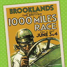 Brooklands 1000 miles vintage car poster racing motorsport automobile- A4