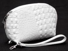 Ital  Leder Abendtasche Etui Geldbörse Kosmetiktasche XL 20cm weiß Kroko