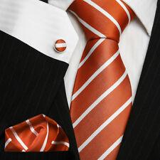 UK Stock Men's Necktie Deep Orange & White Striped Luxury Silk Formal Tie Set