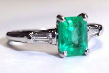 Vivid Colombian Emerald and Baguette Diamond Platinum Engagement Ring Size 5.5