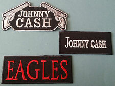 SET OF THREE MUSIC SEW/IRON ON PATCHES:-  JOHNNY CASH EAGLES