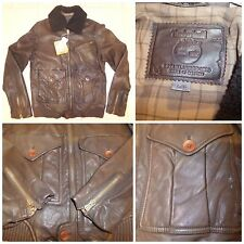 MEN'S TIMBERLAND 100% LAMBSKIN LEATHER SHEARLING BOMBER JACKET 27230 COAT L £750