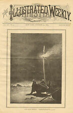 Fishermen, Lost Boat, Signal Light, Vintage, 1884 Original, Antique, Art, Print,