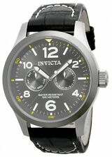 New Mens Invicta 14142 Swiss Quartz 48mm Charcoal Grey Day Date Dial Watch