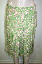 HAROLDS Sz 4 Green Beige Damask Floral Print Front Pleated A Line Cotton Skirt