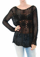 Brand New Free People Long-Sleeve Filet Crochet Women Sweater Black Size S BCF57