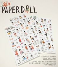 PONYBROWN Paperdoll Kawaii Lovely Cartoon Girl Sticker 6 SHEETS Diary Stationery