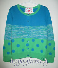 HANNA ANDERSSON Let's Go Cardigan Sweater Blue Marled Dots 100 4T 4 NWT
