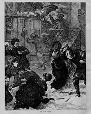 WINTER SPORTS SNOWBALL FIGHT 1872 ANTIQUE ENGRAVING BATTLE IN THE SNOW FASHION