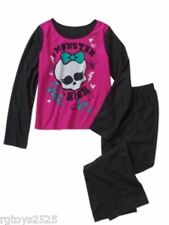 Monster High Pajamas Pets set 7-8 PJs Girls 2 Piece Flannel Sleepwear New