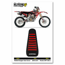 2005-2014 HONDA CRF 450 X Black/Red RIBBED GRIPPER SEAT COVER BY Enjoy MFG
