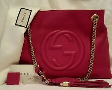 Auth. Gucci Pink SOHO Bag with Double Chain Shoulder Straps