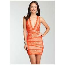 NWT BEBE Orange Red Nude Jasper Deep V-Neck Lace Dress L NEW