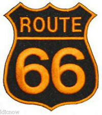 "ROUTE 66 EMBROIDERED (Gold) PATCH 7CM X 8CM (2 3/4"" X 3"")"