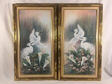 VINTAGE PAIR OIL ON CANVAS PAINTINGS SIGNED T C CHIN FLOWERS BIRD WHITE WADERS