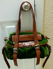 Cynthia Rowley Saddle Leather Plush Green Velvet Shoulder Bag Purse Brown/Green