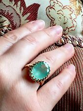 9.5CT Emerald Green Beryl 14k English Victorian style Vintage ring