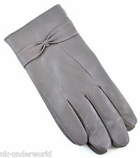 ladies soft coloured sheepskin leather warm lined driving gloves with bow design