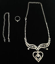 Xmas Prom Wedding Bridal Set 'Hearts' Necklace Bracelet Ring - Clear Crystal 18