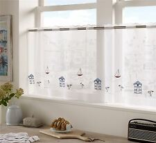 "BLUE RED BEACH HUT SEAGULLS EMBROIDERED KITCHEN CAFE CURTAIN DRAPE PANEL59""X24"""