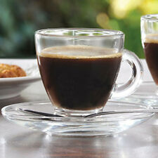 6 x Small 80ml Espresso Cups And Saucers Clear Glass Shot Coffee Expresso Mugs