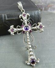 Designer Sterling Silver Gothic Cross w/ Purple & Pink Stones