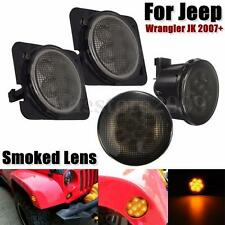 2x Smoked LED Turn Signal Light + 2x Fender Side Light For Jeep Wrangler 07-15