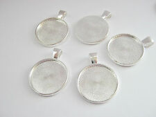 "5 Pendant Trays Blanks, Round Bezel fits 25mm (1"") Necklace Cabochon Settings"
