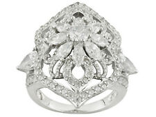 Bella Luce Cz  5. 61ctw Round, Marquise, Pear Shape Sterling Silver Ring sz 10