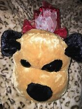 SUPER SOFT TAN BROWN EYE PATCH RED BOW HEART  XOXO COLLAR PLUSH LOVE GIFT NWOT