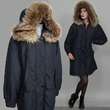 Vintage Shaggy Raccoon Fur MicroSeta Anorak Parka Draped Trench Duster Coat 80s