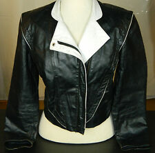 Vtg Foxmoor Cropped Leather Blazer Jacket Black White Womens Ladies Size 7
