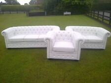 Brand New White Bycast Leather Chesterfield Diamante 3 Piece Suite Stunning item