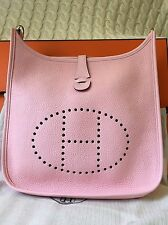 NIB Authentic Hermes Evelyne Rose Sakura PM Clemence l PHW Cross body Bag T St