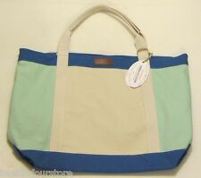 NWT $200 Tommy Bahama Cabana Collection Large Canvas Tote Bag in Blues Off White