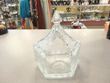 VINTAGE TIARA  INDIANA GLASS HEXAGONAL- SIX SIDED CANDY DISH EAGLE STARS W/ LID