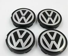 Set of 4 Volkswagen Alloy Wheel Center Caps Hub Black Silver Flat Face 64mm