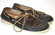 Coach Black Leather 2 Eye Lace Up Loafer Boat Shoes Men's 8 - 8.5