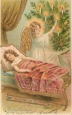 CHRISTMAS Greetings  1908  ANGEL LIGHTS CANDLES on Tree Embossed Postcard