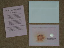 DAUGHTER 21st BIRTHDAY PRESENT/GIFT LUCKY SIXPENCE & POEM IDEAL KEEPSAKE